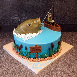 Fishing from a boat cake