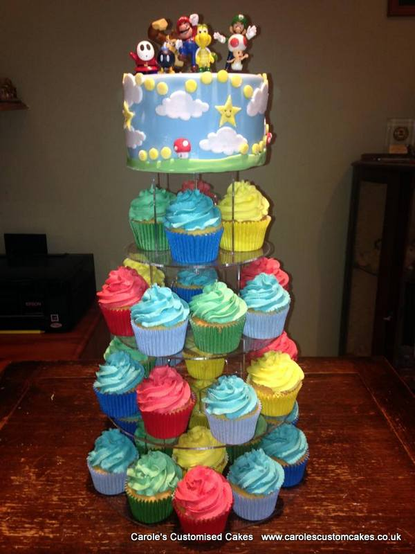 Mario themed cupcake tower