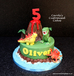 Dinosaurs and volcano cake