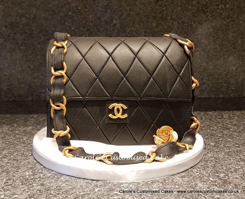 Black handbag cake