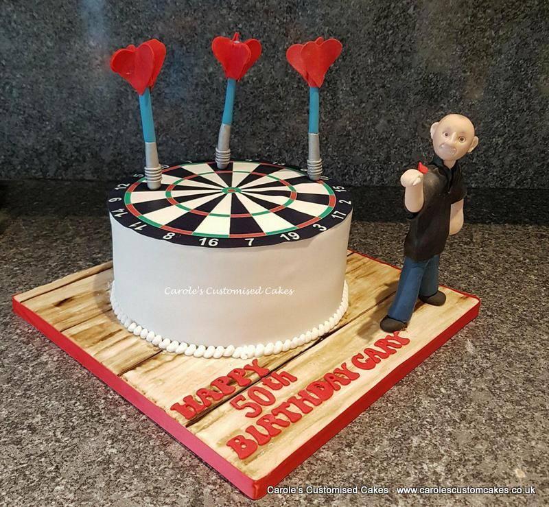 Dartboard cake with model