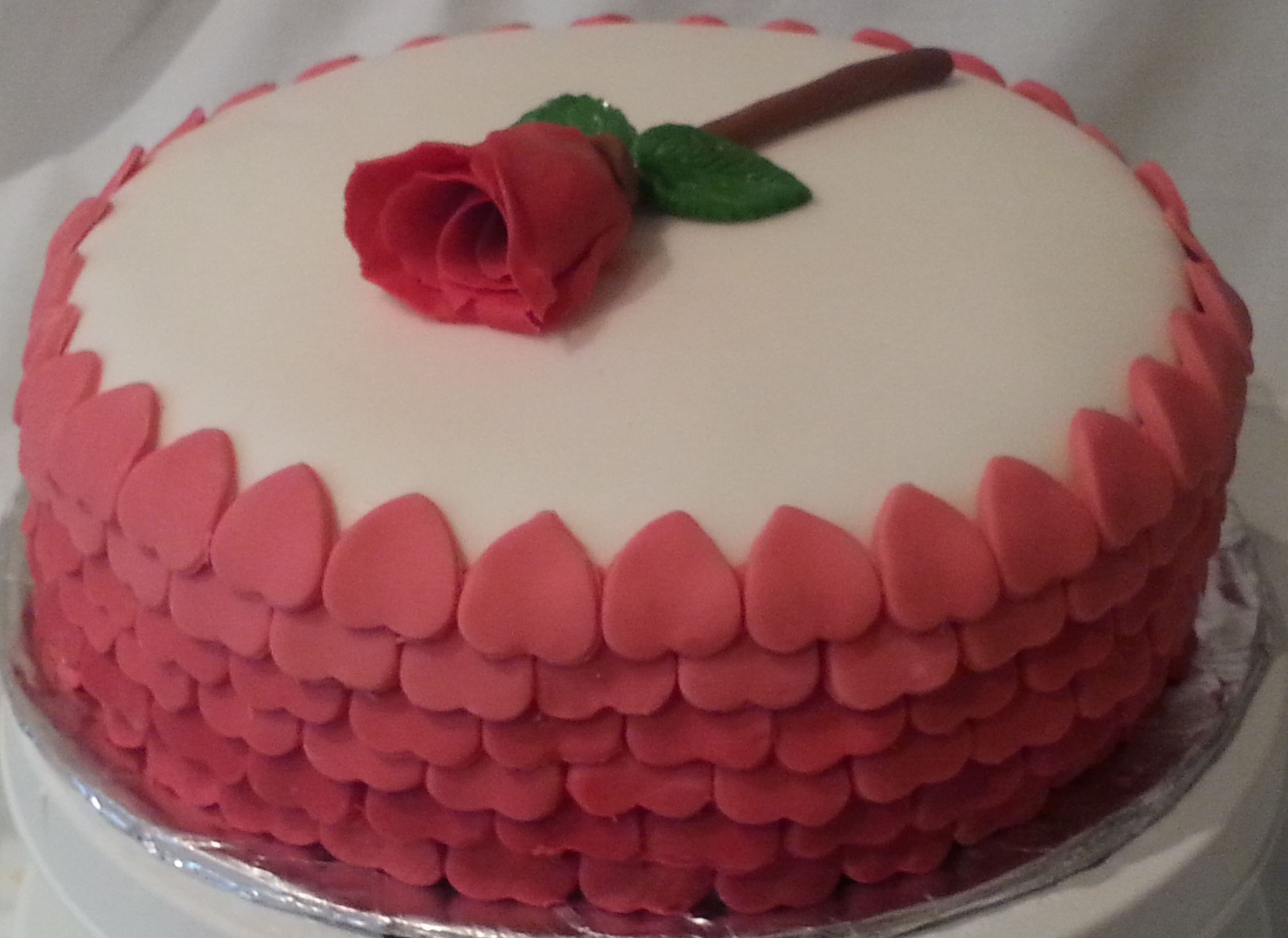 Hearts and rose cake 2