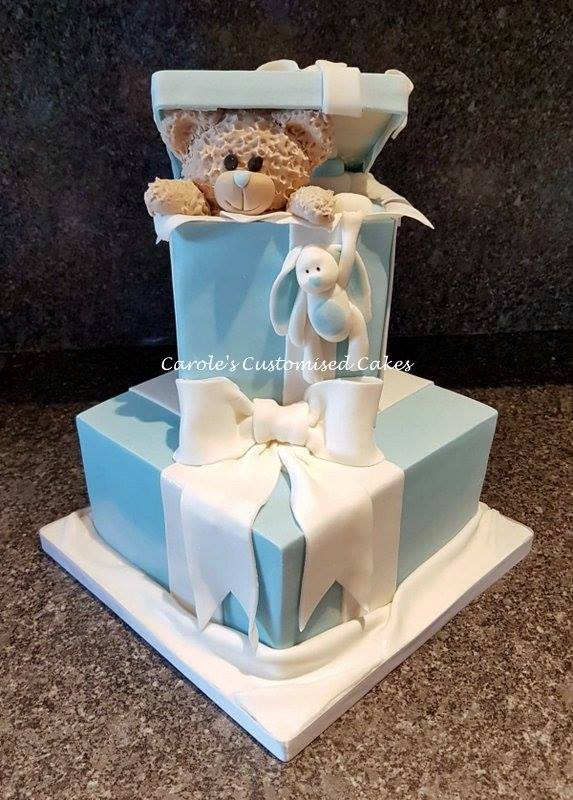 teddy and rabbit baby shower cake