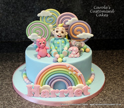 rainbow and lollypops cake