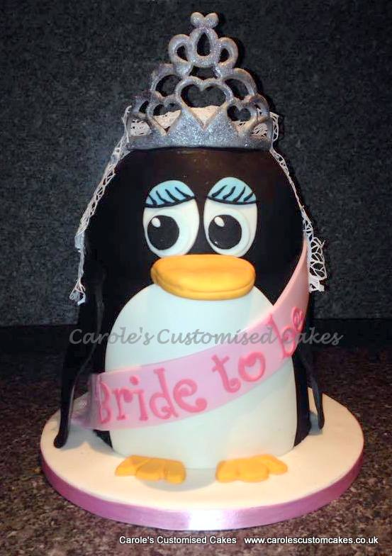 Penguin bride to be cake