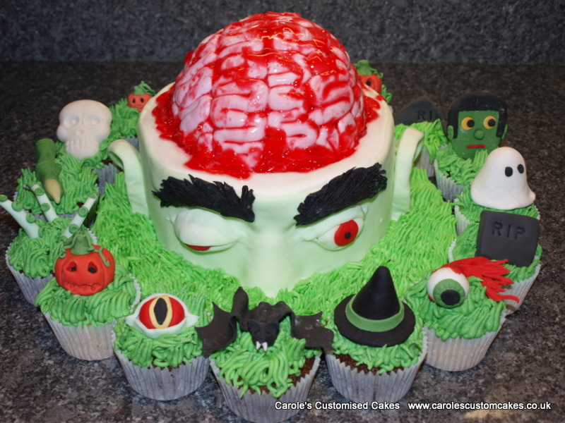 Zombie cake and Halloween cupcakes