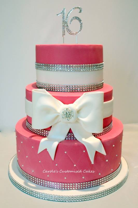 Bling and bow cake