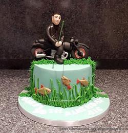 Motorcycling fisherman cake