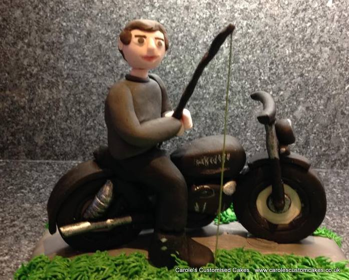 Motorbike and fisherman cake topper