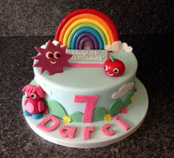 Rainbow topped cake