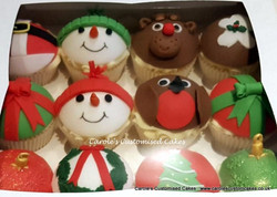 12 domed Christmas cupcakes