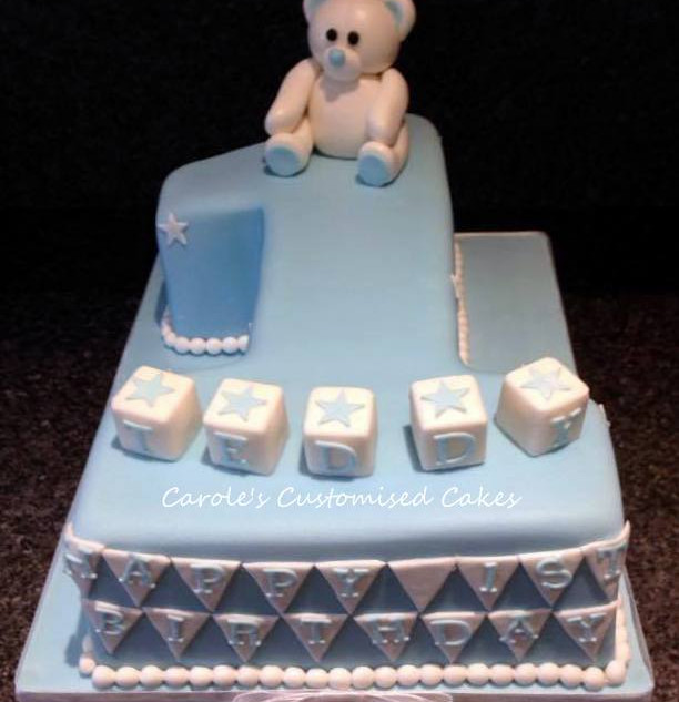 teddy bear and banner number 1 cake.jpg