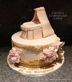 blush pink baby crib cake