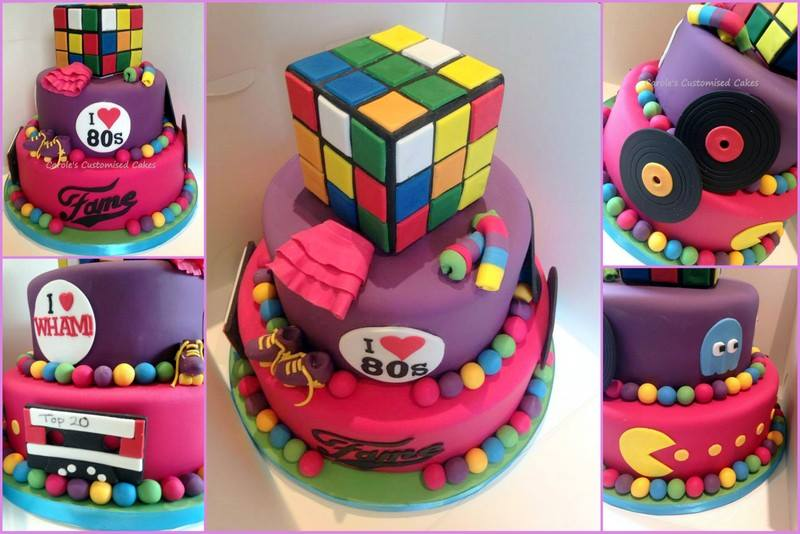 80s themed cake with Rubik's cube
