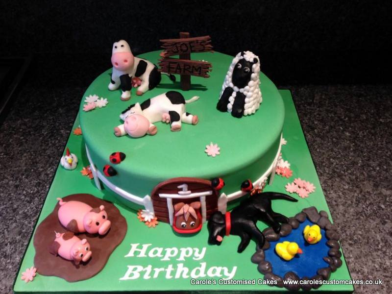 farm 1st birthday cake