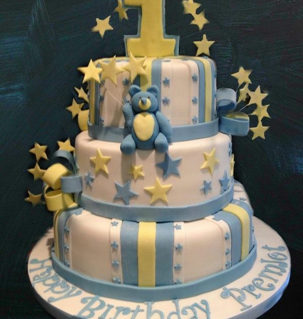 3 tier yellow, blue and white first birt
