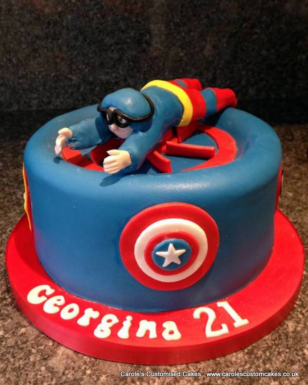 Superman indoor skydiving cake