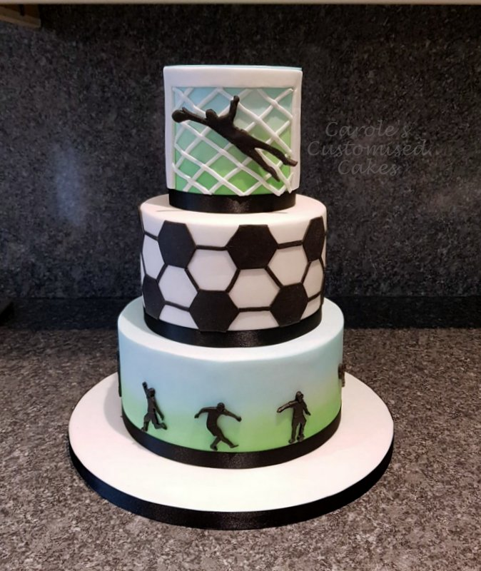 3 tier footbal themed cake