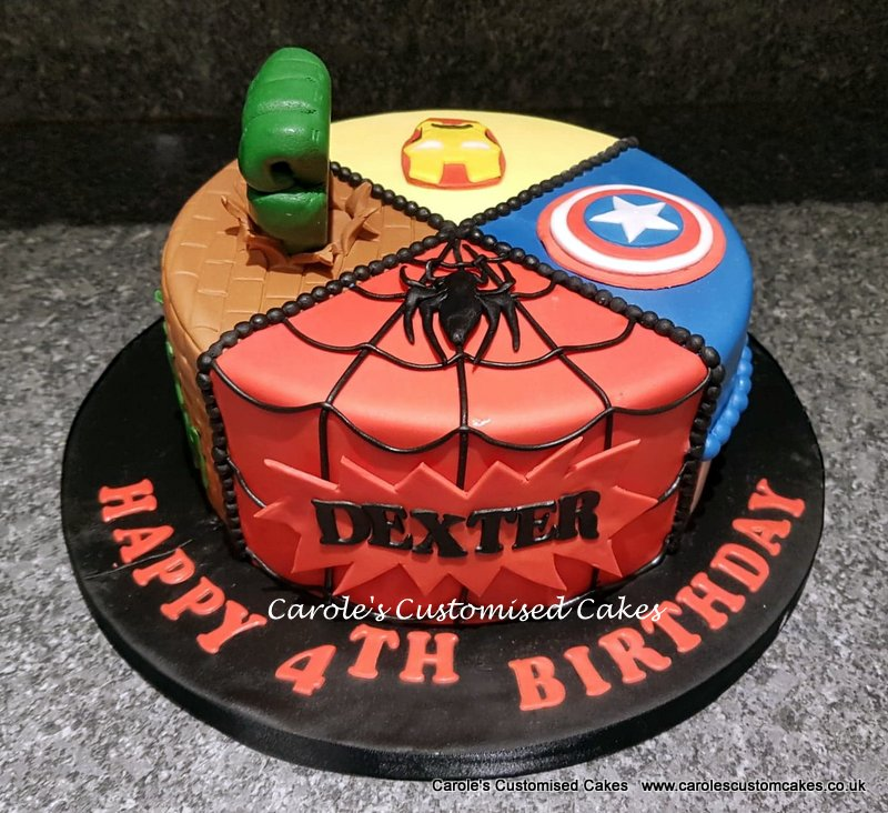Quartered Superhero cake