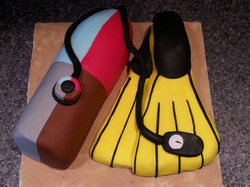 Diving cake flippers and air tank