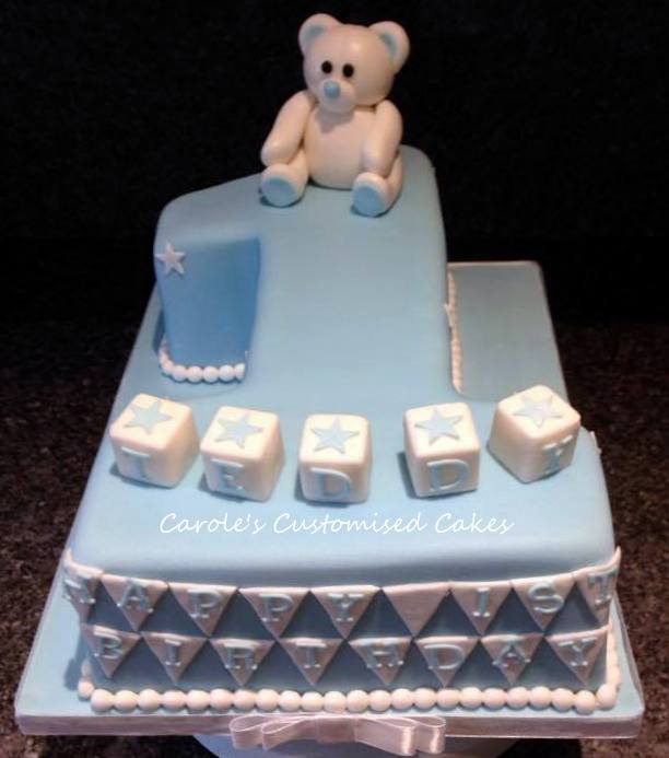 Teddy bear and bricks 1 cake