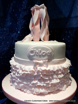 Ballet shoes and tutu cake