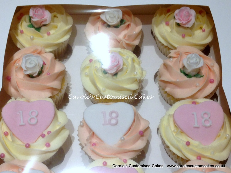 18th rose and hearts cupcakes