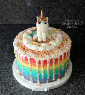 Unicorn and rainbow drip cake.JPG