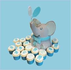 elephant baby shower cake and cupcak