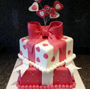 Gift boxes 18th birthday cake