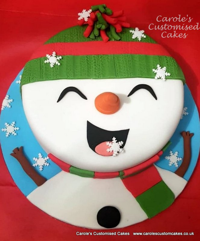 Happy snowman Christmas cake