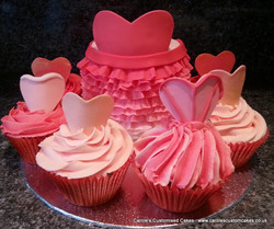 Ruffle cake and ball gown cup cakes
