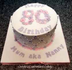 80th quilted birthday cake
