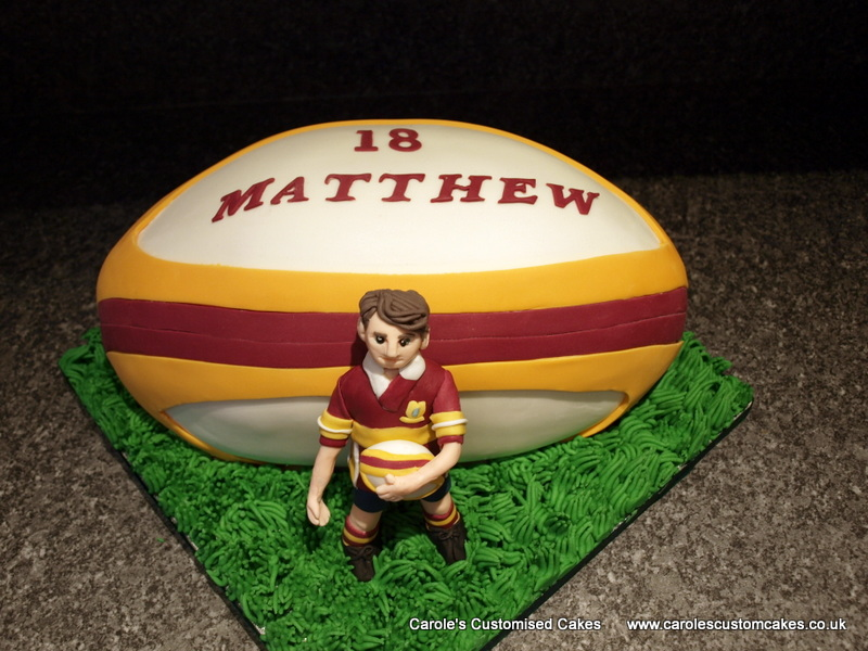 Rugby ball and player cake