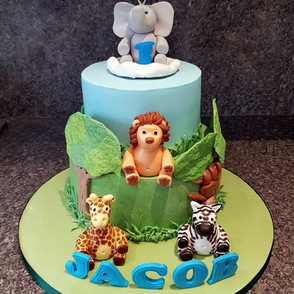 Safari themed 1st birthday cake