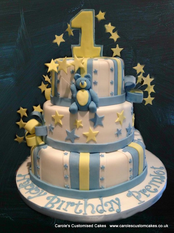 3 tier first birthday cake