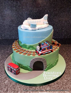 planes trains and buses cake