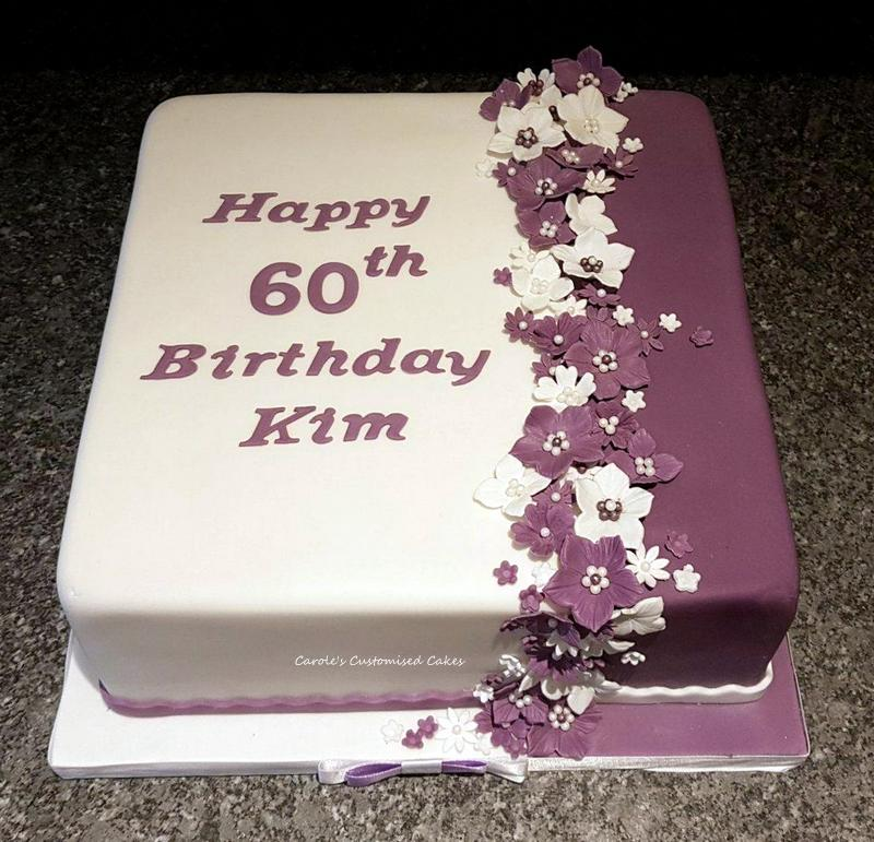 Purple and white birthday cake