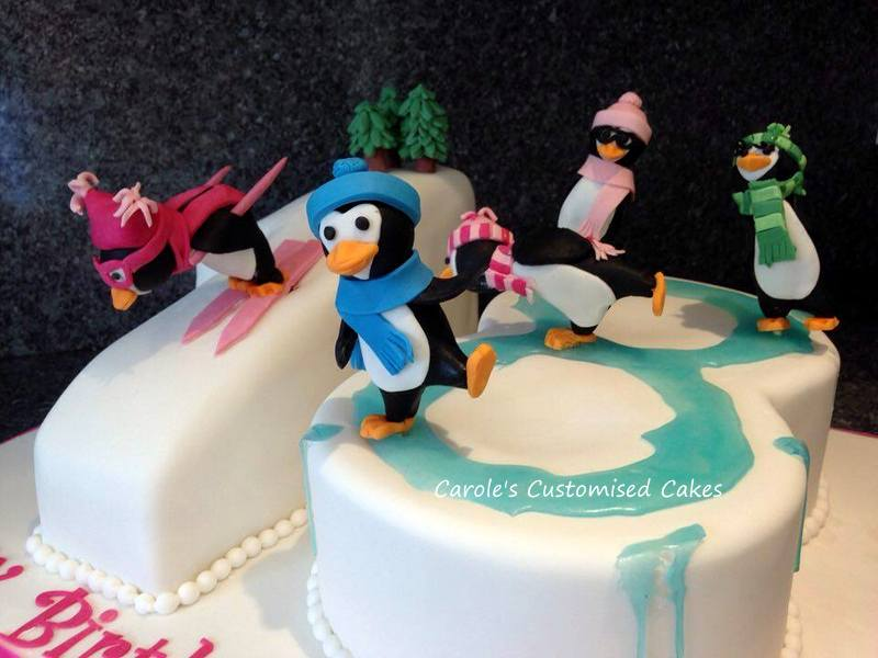 Skating penguins number 18 cake
