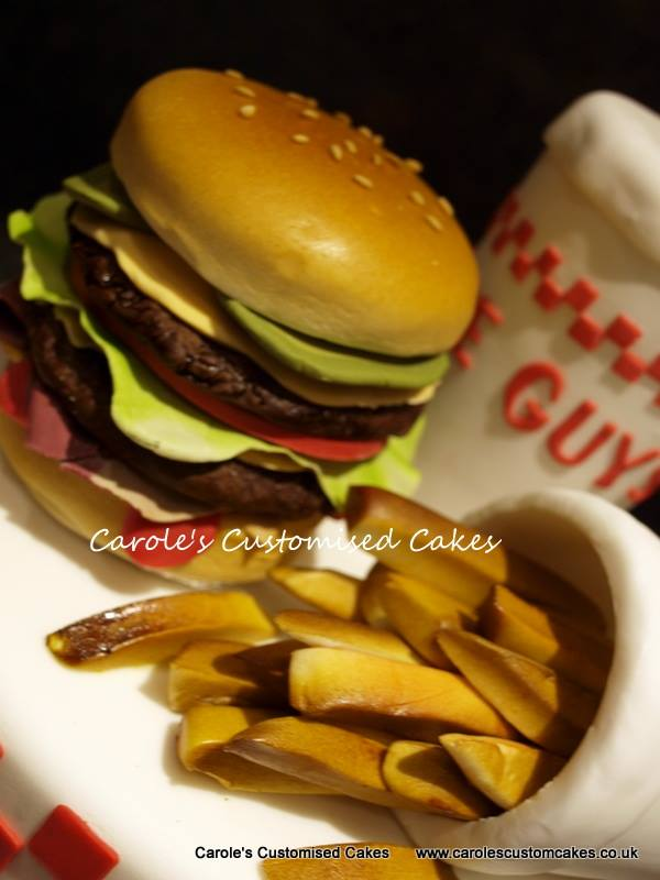 Burger and fries cake topper