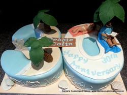 Pearl Anniversary Caribbean cake