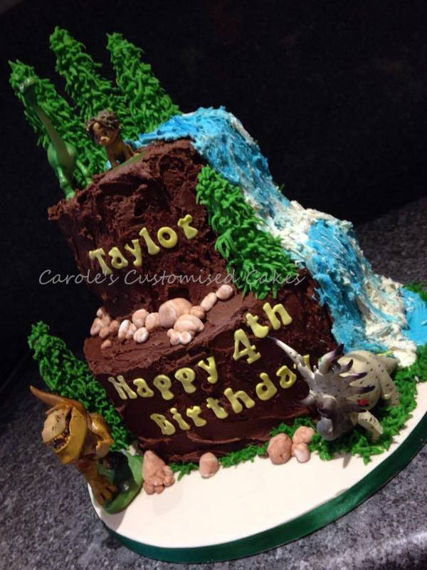 Dinosaur mountain cake