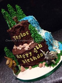 Dinosaur mountain cake