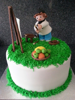 Artist and apples cake