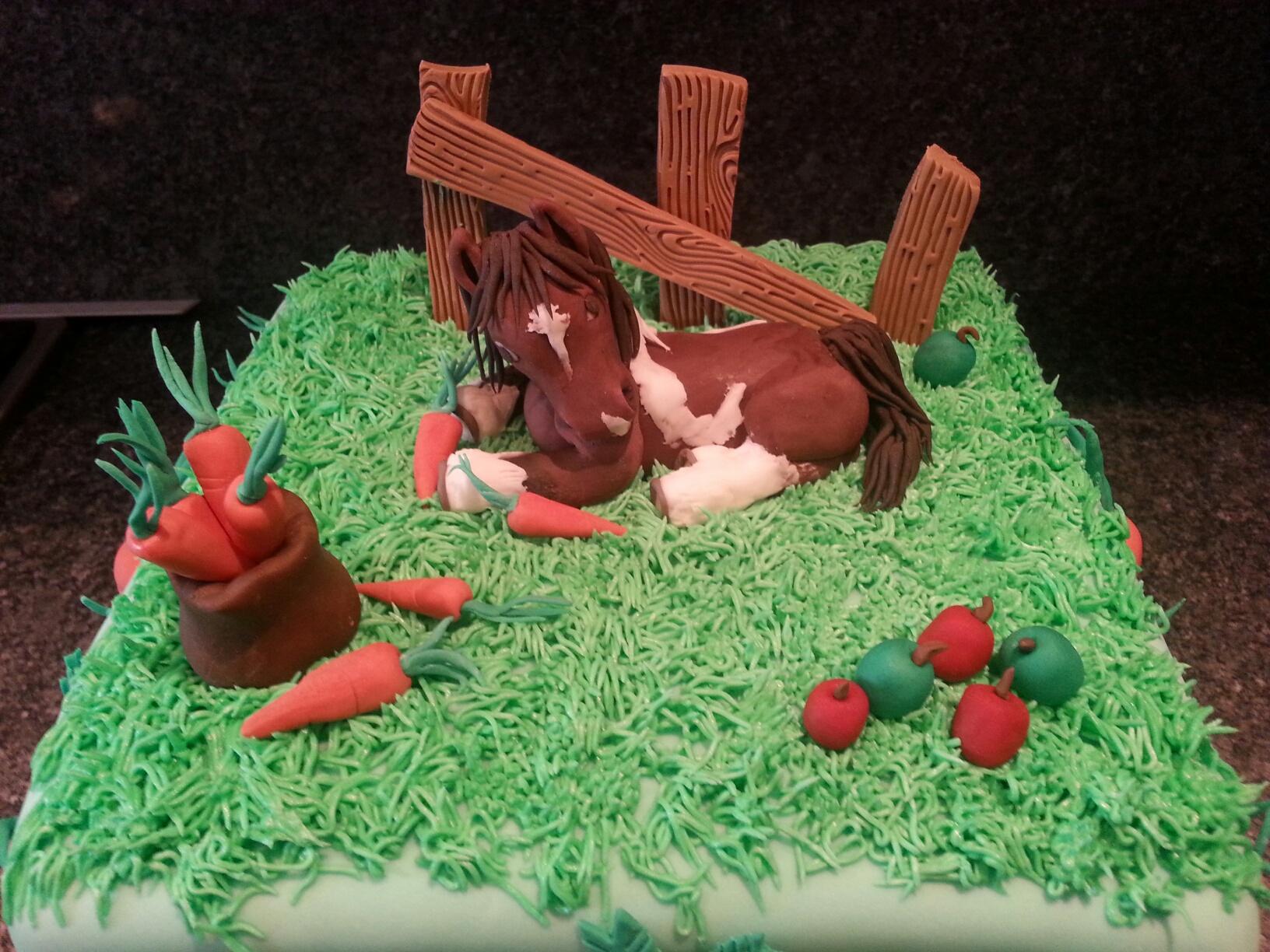 Horse in field cake