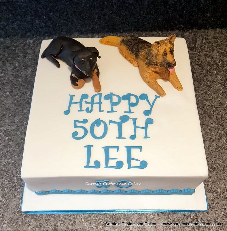 50th birthday cake with dogs