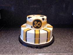 Gold stripes cake