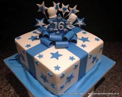 Blue gift cake