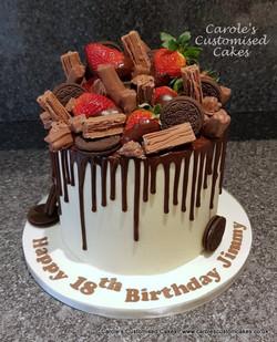 Oreo and strawberry drip cake