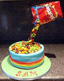Skittles antigravity cake